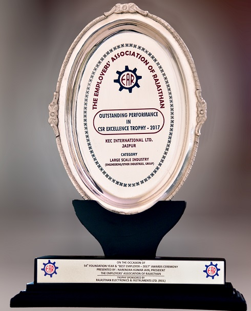 Outstanding Performance in CSR - Excellence Trophy – 2017 in the Large Scale Industry (EngineeringOther Industries, Group) Category by Employer Association of Rajasthan