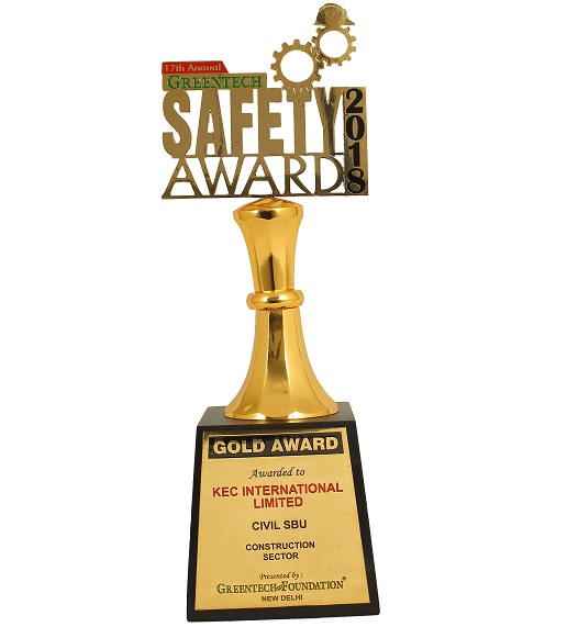 7. Gold Award in Construction for Civil business at the 17th Annual Greentech Safety Awards 2018