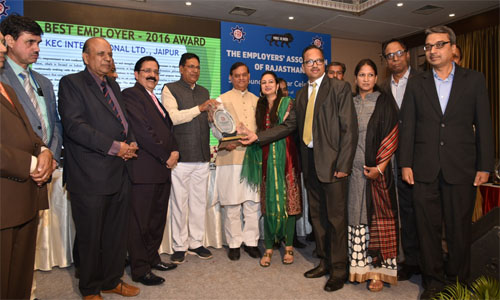 KEC's Jaipur plant receives an award for its CSR initiatives in the state by the Employer Association of Rajasthan at its 53rd foundation ceremony