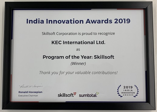 Program of the Year award at Skillsoft Perspectives India 2019 for 'Digital Learning Championship (DLC)' program