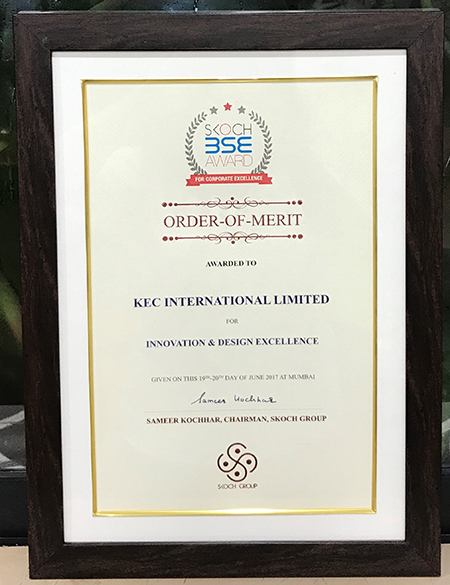 KEC wins the Skoch Order of Merit for its Innovation & Design Excellence, at the Skoch BSE Awards for Corporate Excellence.