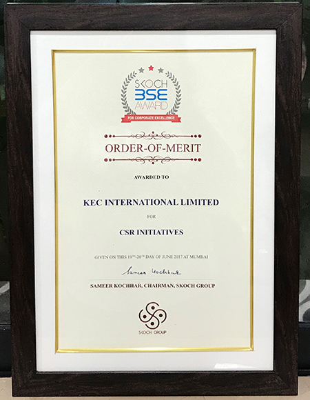 KEC wins the Skoch Order of Merit for its CSR initiatives, at the Skoch BSE Awards for Corporate Excellence